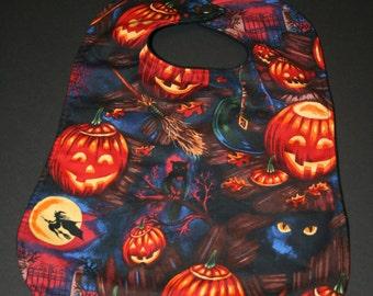 Baby/Toddler Bib - Larger - Halloween Pumpkins