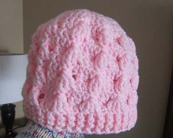 Beautiful Pink crochet tezzie hat