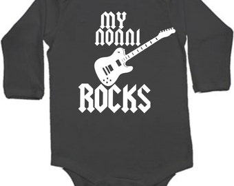 My Nonni rocks  cool guitar  Italian grandpa baby bodysuit white blue or black color and size choice short sleeved gift idea