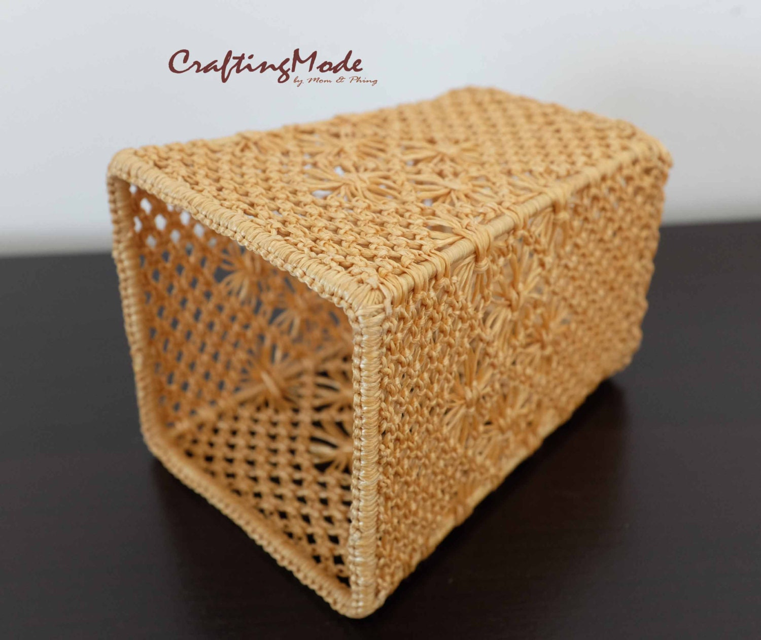 Handmade Nylon Basket : Basket small size macrame weaving square