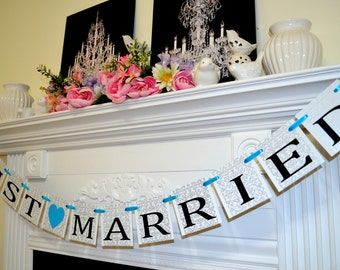 Just Married Banner, Wedding Decoratin, Just Married Car Sign, Wedding Photo Prop, Getaway car banner, wedding car sign