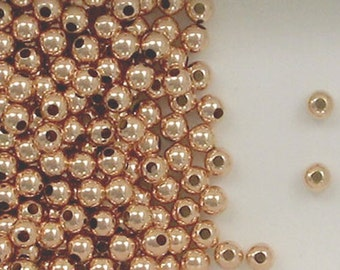 12k Rose Gold Filled 4mm Seamless Round Spacer Beads, Choice of Lot Size Price   204
