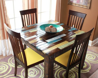 Farmhouse Rustic Multi Colored Breakfast Table