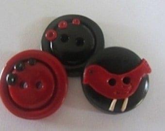 Cardinal Buttons ~ Set of 3