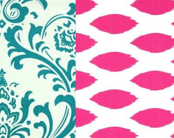 Teen Reversible Duvet Covers in Turquoise and pink Twin, Twin and Full / Queen  & King