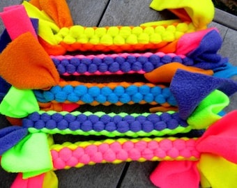 Fleece Tug Toy for Dogs in Neon Colors Extra Thick Large Size