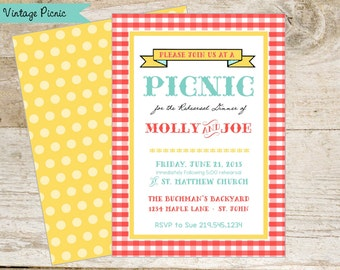 Retro Picnic Printable Party Invitation - Red Gingham, Aqua, Yellow - casual rehearsal dinner - summer party - birthday etc