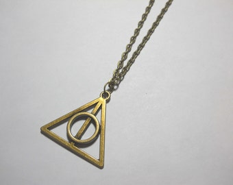 Alchemist Triangle Pendant, Antique Bronze Tone, Cleansing or Protection Charm, Magical Symbol Pendant, Men's Necklace, Women's Necklace