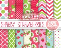 Shabby Strawberries Patterns Strawberry Digital Paper Backgrounds Red Pink Green Pale Teal English garden for invitations scrapbook album