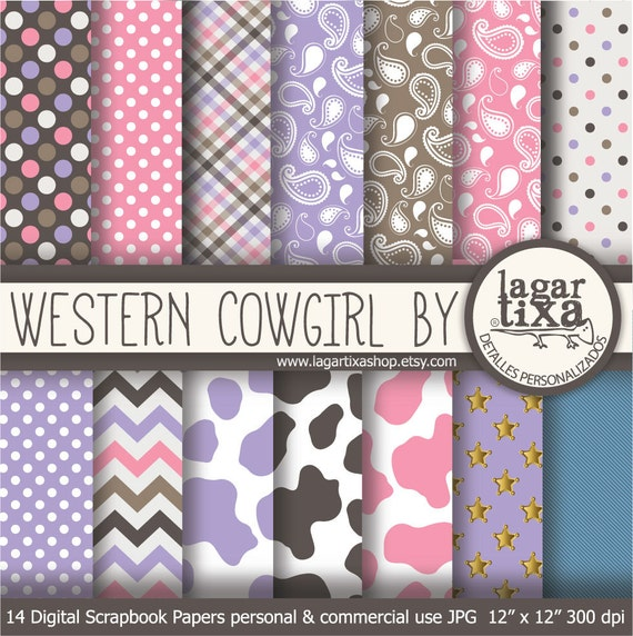 western cowgirl Digital Paper girly jeans Pattern cow animal
