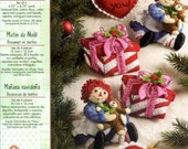 Plaid | Bucilla Felt Embroidery Kit Raggedy Ann & Andy Christmas Morning Set of 6 Ornaments  #86244