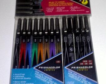Set of 3 | Sanford Prismacolor Premier Brush Tip | Fine Line 8 Pack Colored Markers Pens, Assorted & 5-Pack, Fine Line, Black