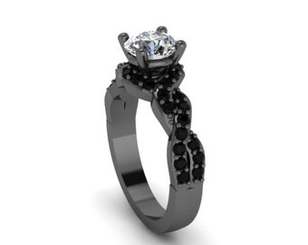Unique Engagement Ring Black Gold Diamond Ring 14K Black Gold Anniversary Ring with 6.5mm Round Forever Brilliant Mioossanite Center - V1033