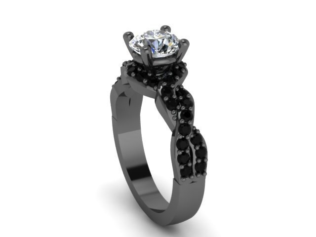 unique engagement ring black gold ring 14k black gold