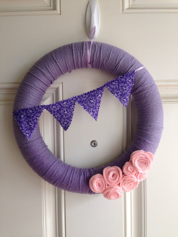 Pastel purple wreath with pink flowers