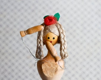 Vintage Wood Doll - Goldie Locks doll - Altered arts assemblage - Souvenir from Poland