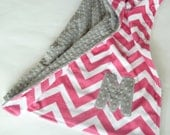 Personalized Baby Girl Blanket or Lovey  - Custom Made - Fuchsia Chevron front you Choose back Minky Color -  Gray, Pink
