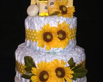 Burt's Bees Diaper Cake Two Tier Sunflower or any design for Baby Boy, Girl and Neutral