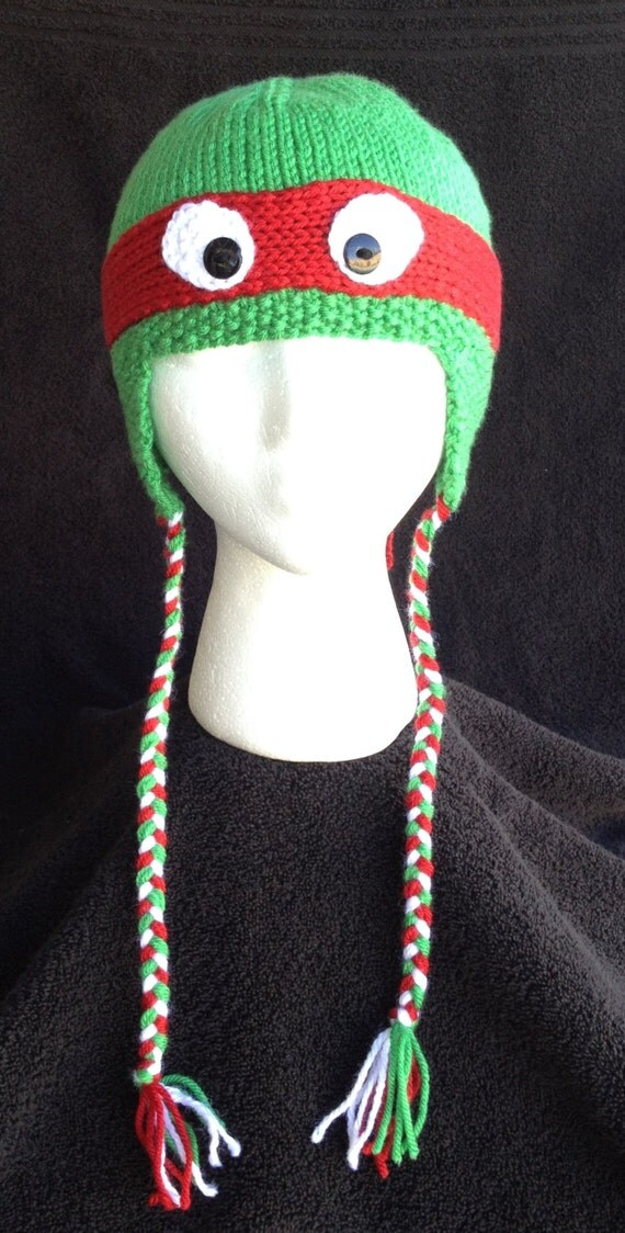 Hand-knit teenage mutant ninja turtle hat with ear flaps and