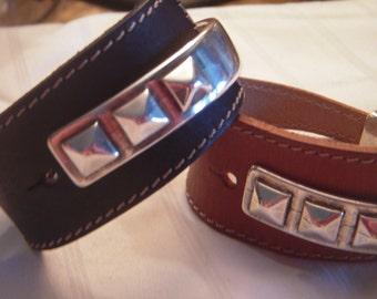 Half silver cuff half leather cuff bracelet