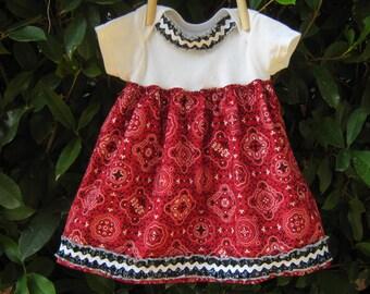 Bandana Print Baby Girl Onesie Dress
