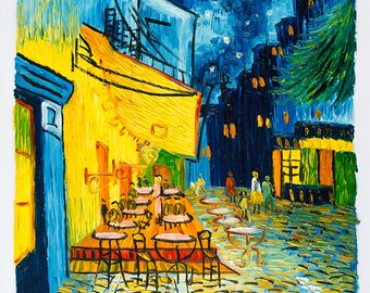 Night Cafe -- Original Oil Painting on Canvas -- 20 x 24