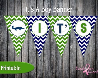 Blue Green Alligator It's A Boy Baby Shower Digital Printable Banner