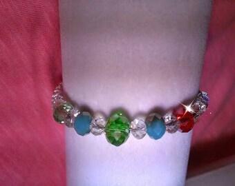 Swarovski crystal  ,Mothers,birthstone bracelet . 1 bead mothers birthstone, main color & crystal Rondelles.