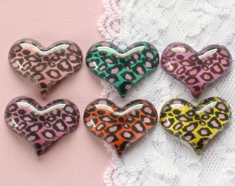 6 Pcs Big Assorted Cheetah Print Heart Cabochons - 30x25mm