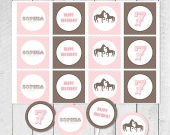 Vintage PONY/HORSE Party Cupcake Toppers circle TAGS - Personalized Printable Digital Labels