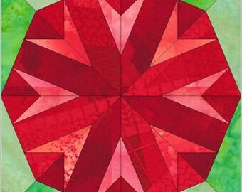 Chrysanthemum Flower Paper Template Quilting Block Pattern PDF