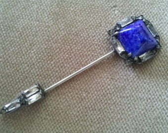 Vintage Sterling Lapis and Paste Fishel Nessler Jabot Pin, Art Deco Stick Pin