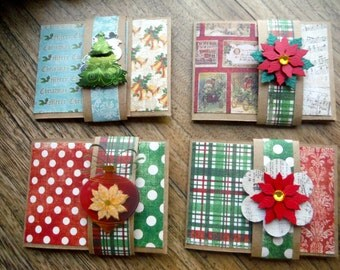 Gift card holder, Christmas gift card, set of 4