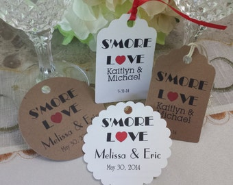 Personalized Favor S'more Love Tags 2 1/2'', Wedding tags, Thank You tags, Favor tags, Gift tags, Bridal Shower Favor Tags,