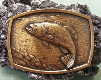 Vintage Die Cast Buckle Bass Fish