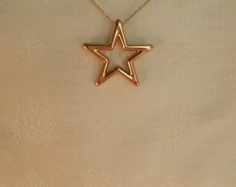 Star Necklace with Woven Chain in 14k Gold - EB210