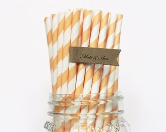 Peach Paper Straws, 25 Light Orange Striped Paper Straws, Wedding Table Setting, Baby Shower, Kids Birthday Party, Peach, Made in USA,
