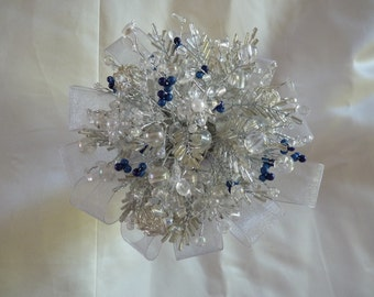 Bridesmaids bouquet in blue and silver, beaded bouquet, brooch bouquet alternative, wedding flowers,