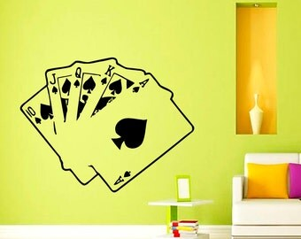 Wall Decals Cards Poker Casino Decal Vinyl Sticker Home Decor Bedroom Interior Window Decals Living Room Art Murals Chu1230
