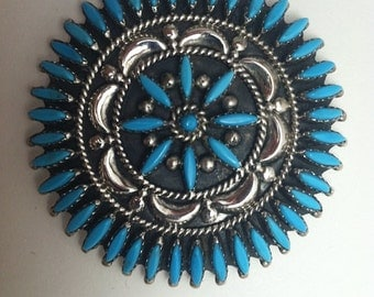 Sterling Silver and Turquoise petite point Zuni brooch/pendant