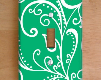 Silent Era, Green Vinyl Light Switch Cover, Outlet Cover, Wallplate, Home Decor, Swirls, Green and White, Elegant, Vinyl Wall Plate Cover