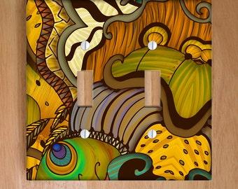 Caravan Vinyl Light Switch Cover, Outlet Cover, Wallplate, Home Decor, Animal Prints, Zebra Print, Peacock, Jungle, Safari, African Decor