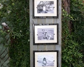 Wood plank frame; recycled planks; plank wall art; double wooden mats; 5x7 or 4x6 photos; Silver; ivory; grey