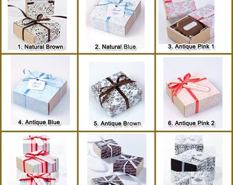 Gift box : Mini  10 sets(boxes, ribbon, tags) of slide gift box, wedding gift box, engagement gift box, birthday gift box