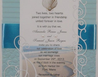 50 Beach Theme Invitations for Weddings or any Occasion Customized for You