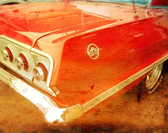 Impala Dreams, 5x7, Chevy, vintage car, collectible cars, classic car, Chevrolet, old car, Chevy Impala, 1963 Impala, red car, 1963 Chevy