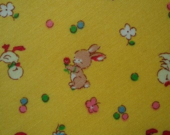 "Half Yard of Lecien Retro 30's Child Smile Yellow Kids Fabric. Approx. 18"" x 44"" Made in Japan"