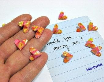 100pcs Dark Orange Color Mini Size 3D Origami Hearts LOVE. (TX paper series). #FOH-113.