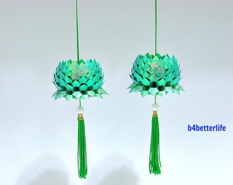 A Pair of Cyan Color Size Small Origami Hanging Lotus. (CY paper series).