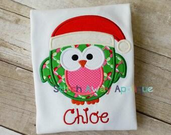 Christmas Santa Owl Machine Embroidery Applique Design